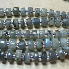 "NEW! Labradorite 7-7.5mm Heishi Flat Rondelle Stone Beads 16"" Satiny Smooth"