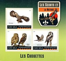 Madagascar 2016 MNH Scouts & Nature Owls 3v M/S Scouting Birds of Prey Stamps