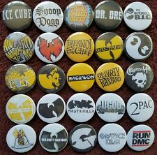 90's Hip Hop Rap Button Badges x 25. Pins. Collector. Wholesale. Bargain. :0)