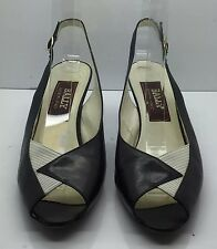 BALLY Black & White Leather Open Toe Sling Back Low Heels Shoes Vtg 7.5 N Italy