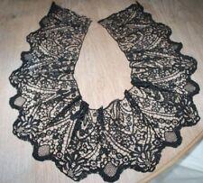 Kostbare Klöppelspitze historische Handarbeit Kragen Spitze Einsatz schwarz muse