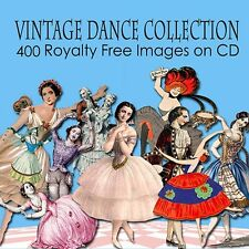 Vintage Dance Ballet Images Cards Toppers Decoupage Craft  on CD