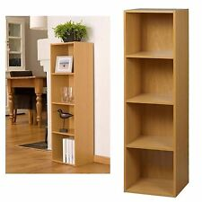 NEW 4 TIER BOOKCASE BEECH HOME OFFICE CD DVD GAMES STORAGE UNIT CABINET RACK