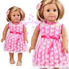 "New Handmade Pink Dress with white Lace for American Girl 18"" Doll Selection"