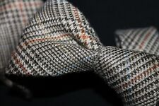 NAPOLI'S BOLDEST! E.G. Cappelli Brown Beige Rust Glen Plaid Check Linen Tie WOW!