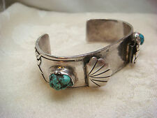 WATCH BAND STERLING SILVER TURQUOISE NUGGET R.B.M OVERLAY TRIBAL VINTAGE ANTIQUE