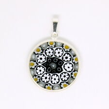 Blue, White and Yellow Sterling Silver Murano Glass Pendant with Millefiori