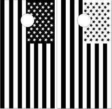 American Flag Black n White LAMINATED Cornhole Wrap Bag Toss Skin Decal Sticker