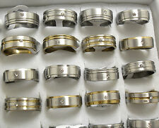 10pcs Gold Silver Stainless Steel CZ Rings Wholesale Men Fashion Jewelry Lots