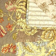 NOBLE EXCELLENCE Villa Cecile KING QUILT SET BIRD FLORAL TOILE Blue Yellow Brown