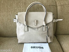 "GRYSON ""SASKIA"" OFF-WHITE BEIGE LEATHER BELTED EXPANDABLE ZIP FLAP TOTE BAG"