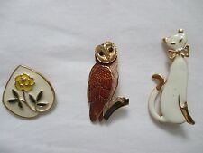 Vintage Lot of 3 Enamel Pins Brooches Owl Kitty Cat Feline Pink Rose Fashionable