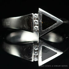 BERNARD K PASSMAN BLACK CORAL ARROW WITH DIAMOND 18K WHITE GOLD RING (SZ 6.25)