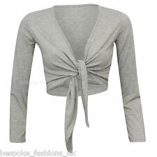 H7D Women's Long Sleeve Tie up Ladies Bolero Shrug Cardigan Top Plus Size 8-22