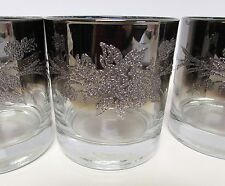 4pc DOROTHY THORPE SILVER FADE QUEENS EMBOSSED ROSE HI BALL BAR GLASSES