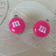 Girls Teens Novelty Clip On Earrings Candy M&M's HOT Pink Kids Fashion Accessory
