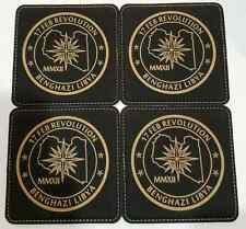 CIA 16 Point Compass Star Black Leather Coasters Set of 4 Benghazi Libya