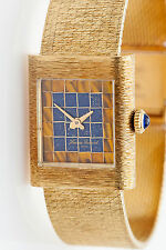 Vintage $5000 Lucien Piccard Blue Lapis Tiger Eye DIAL Ladies 14k Gold Watch 47g