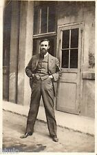 BJ857 Carte Photo vintage card RPPC Homme barbe barbu mode fashion main poche