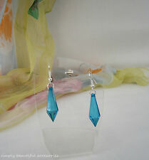 Pretty Teal Blue Clear Faceted Tear Drop 30 mm Bead Dangle  Pierced Earrings
