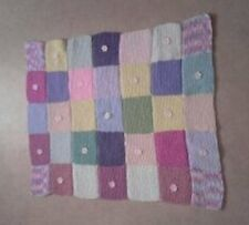 Baby Cot Blanket Hand knit Square With Flowers 0 - 24 months Free Postage