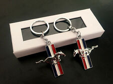 2XAlloy Chrome Ford Mustang Running Horse Car Key Ring KeyChains Charms FIT Ford