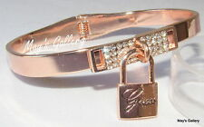GUESS ??? Jeans Rhinestones Bangle  Bracelet Rose gold  Tone Charms Lock NWT