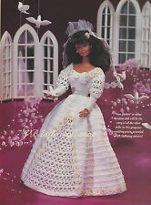"Doll's wedding dress crochet pattern.  To fit 11"" doll. Copy from magazine."