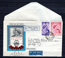 HONG KONG CHINA PHILATELIC ASSOCIATION 1948 KGVI SILVER WEDDING FDC COVER TO USA