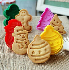 4PCS XMAS Cookie Biscuit Plunger Cutter Mold Fondant Cupcake Decorate Tool Mould