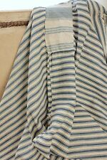 Antique French ticking fabric PRIMITIVE TIMEWORN repairs LOVELY light weight