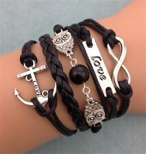 NEW Hot Retro Infinity Owl Anchor Pearl Leather Charm Bracelet plated Silver C12