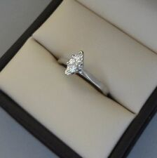 SPARKLING 14K WHITE GOLD .30 CARAT DIAMOND MARQUISE SOLITAIRE ENGAGEMENT RING -
