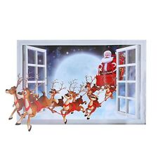 Window Decal Stickers Home Santa Clause Art Room Wallpaper Mural 3D 50*70cm