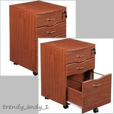 3 Drawer Rolling File Cabinet Storage Lock & Key Office Mahogany Furniture Home
