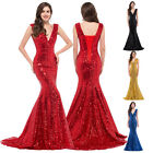 Sparkling Sequins Long Mermaid Wedding Party Ball Prom Evening Formal Gown Dress