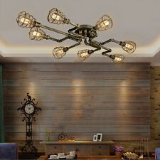 Rustic Industrial Pipe Cage Semi Flush Ceiling Light Steampunk Pendant Lamps