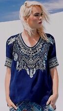 NWT Johnny Was M RUNsBIG fits sz L Large XANDER PONCHO Embroidered BLOUSE Top