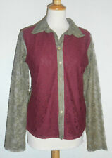 LISA CAMPIONE Damen Bluse Gr. 44 weinrot olive Spitze NEU mit Etikett