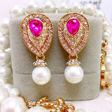 ANTHROPOLOGIE BEAUTIFUL WHITE PEARL PINK RHINESTONES DROP DANGLE EARRINGS – NEW