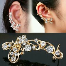 only right side Chic Retro Crystal Ear Clip Butterfly Flower Gold Ear Cuff Stud