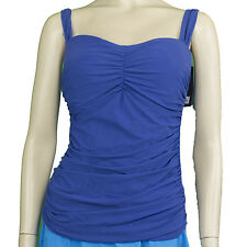 New Profile By Gottex Ladies Ocean Blue Ruched Tankini Top Size 36D