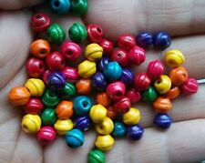 100Pcs 6X7mm Multi-Color Bicone Wood loose spacer Beads