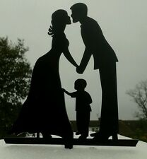 Our stunning silhouette Bride & Groom AND LITTLE BOY Wedding cake Toppers