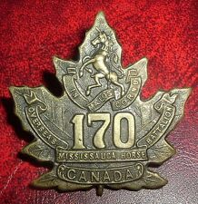 CAP BADGES-WW1 CANADIAN CEF 170th MISSISSAUGA HORSE REF 170-2 TIPTAFT