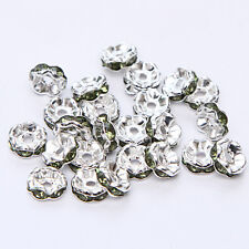 Jewelry Making 20pcs 8mm Plated silver crystal spacer beads FREE SHIPPING B&56