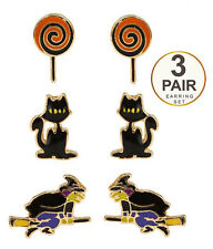 EARRINGS HALLOWEEN THEME 3 Pair Earring Set Cat Witch Lollipop Pierced Post Ears