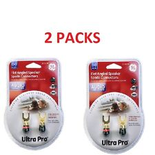 2 PACKS Ultra Pro Flat Angled Speaker Spade Connectors FOR MONSTER CABLE WIRE