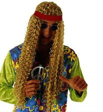Mens Long Blonde Hippy Wig with Headband 60s 70s Cool Groovy Fancy Dress