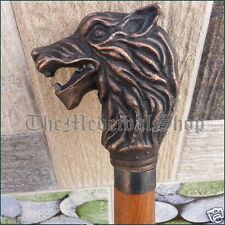 Antique Style Victorian Lion Head Handle Walking Stick Wooden Vintage Cane gift